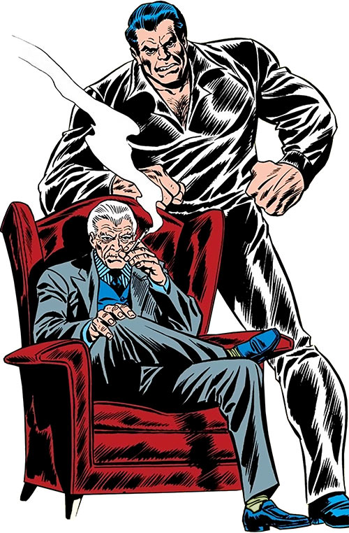 Silvermane (Spider-Man enemy) on a leather chair, guarded by Man-Mountain Marko