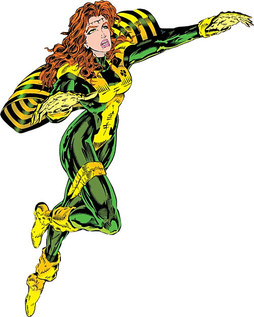 Siryn of X-Force (Marvel Comics) (Cassidy) flying with a cut brow