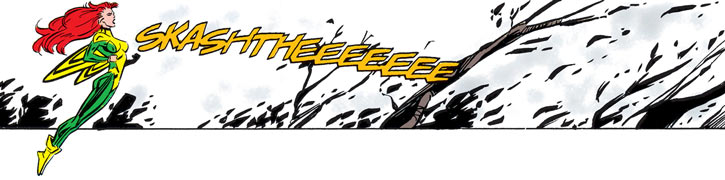Siryn of X-Force (Marvel Comics) (Cassidy) screaming at a forest