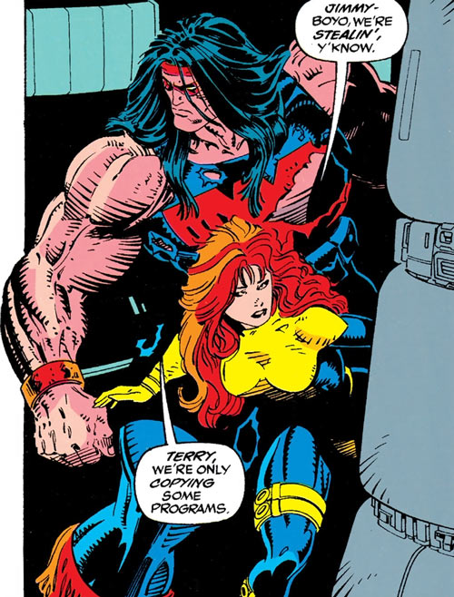 Siryn of X-Force (Marvel Comics) (Cassidy) sneaking with Proudstar