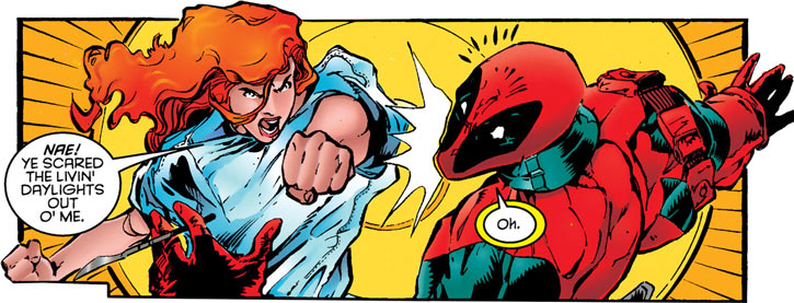 Siryn of X-Force (Marvel Comics) (Cassidy) punching Deadpool, which is good