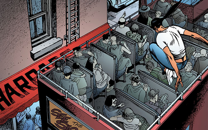 Sita Patel (Global Frequency Run comics) leaps onto a tourist double decker
