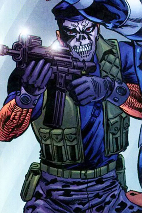 Skul agent of SHIELD (Marvel Comics) aiming a carbine