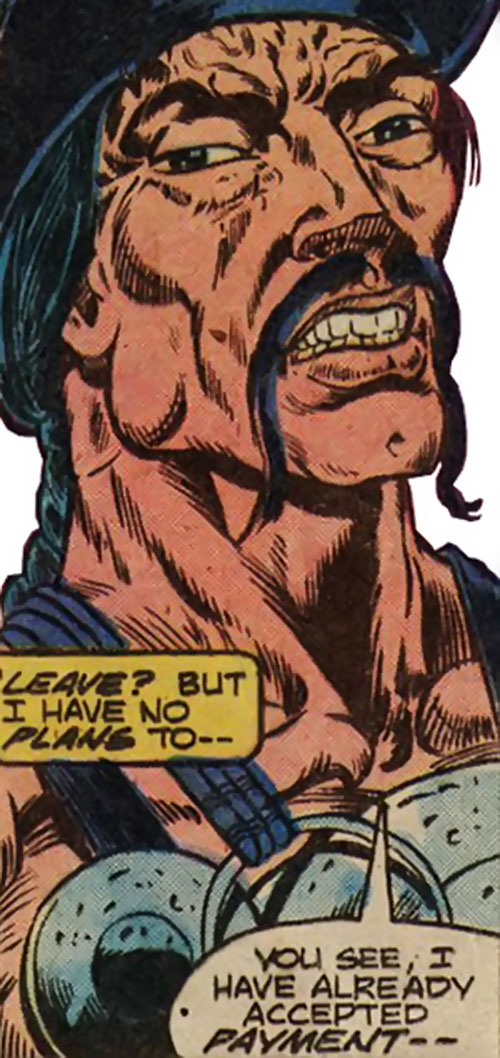 Skullcrusher (Master of Kung Fu enemy) (Marvel Comics) face closeup