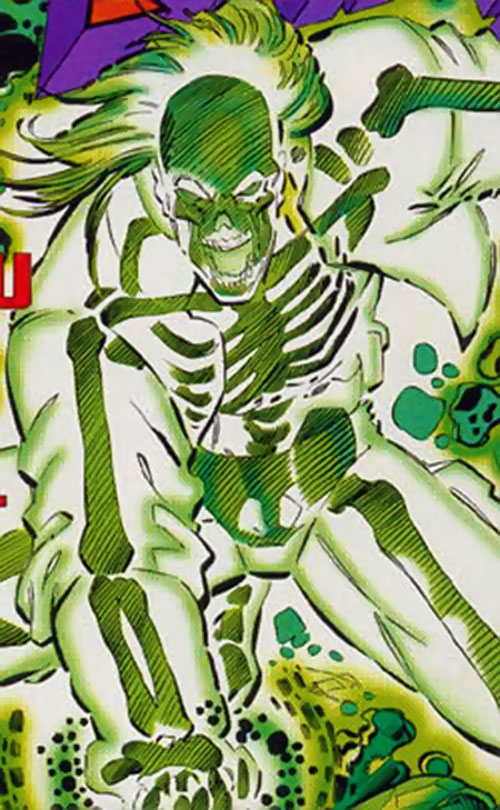 Skullfire of the X-Men 2099 (Marvel Comics) with transparent flesh from energy output