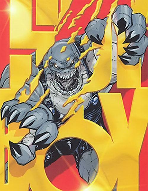 Slackjaw (Spyboy enemy comics) tearing through the Spyboy logo