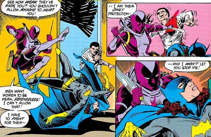 Slash (Batgirl enemy) (DC Comics) fighting and killing