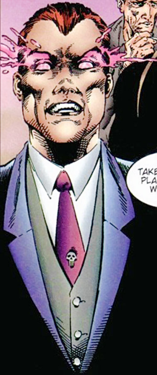 Slaughterhouse Smith (Wildstorm Comics) (Wildcats / Stormwatch enemy) in a suit with eyes glowing