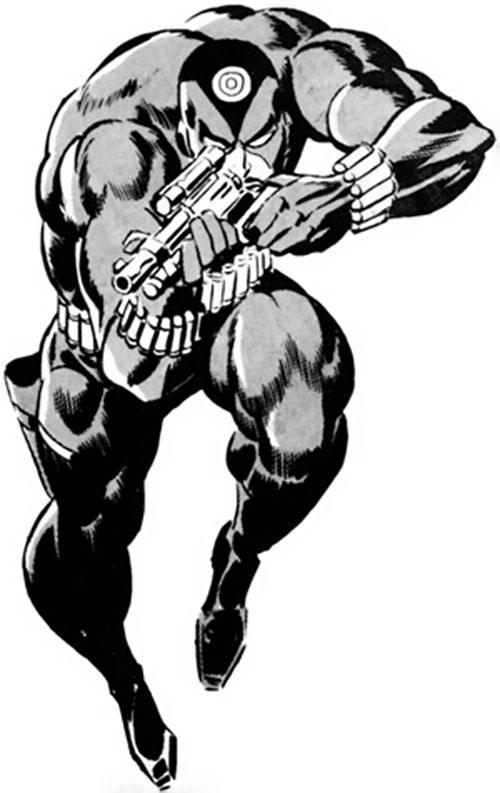 Slaymaster (Captain Britain enemy) aiming his carbine