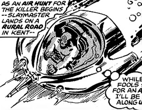 Slaymaster (Captain Britain enemy) in a special vehicle