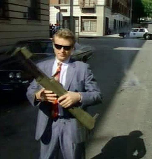 Sledge Hammer (David Rasche) with a rocket launcher