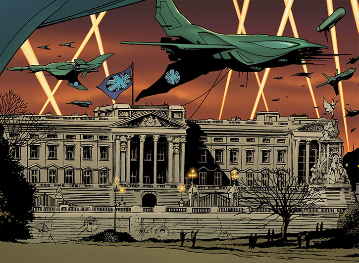 Sliding Albion - Buckingham palace - The Authority (Wildstorm comics)