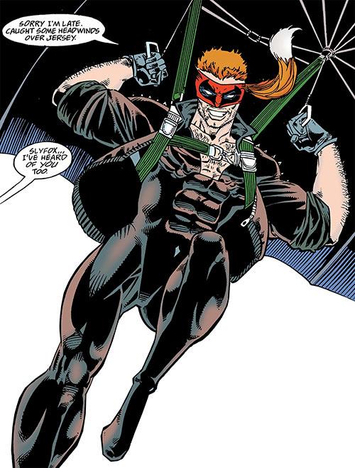 Slyfox (Catwoman villain) (DC Comics) parachuting