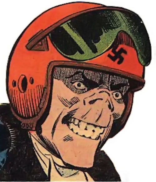 Smiling Skull (Charlton Comics) face closeup with fighter pilot helmet