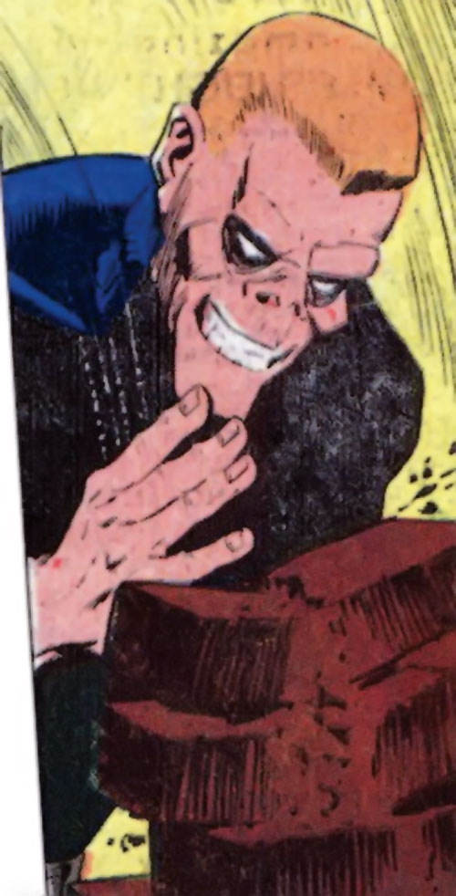 Smiling Skull (Charlton Comics) breaking bricks with a karate chop