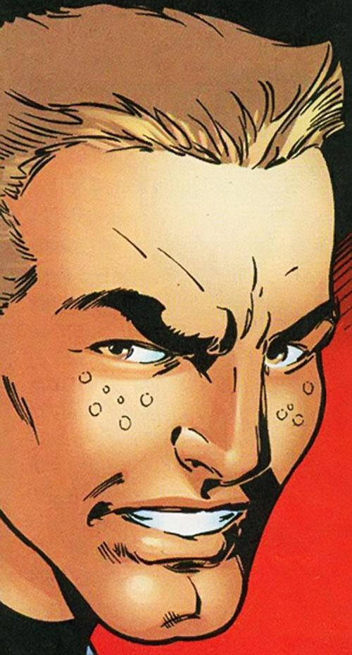Smuggler (Conrad Josten) of the Redeemers (Marvel Comics Thunderbolts) face closeup