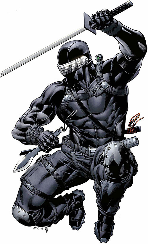 Snake Eyes (G.I. Joe comics) jumping with blades out