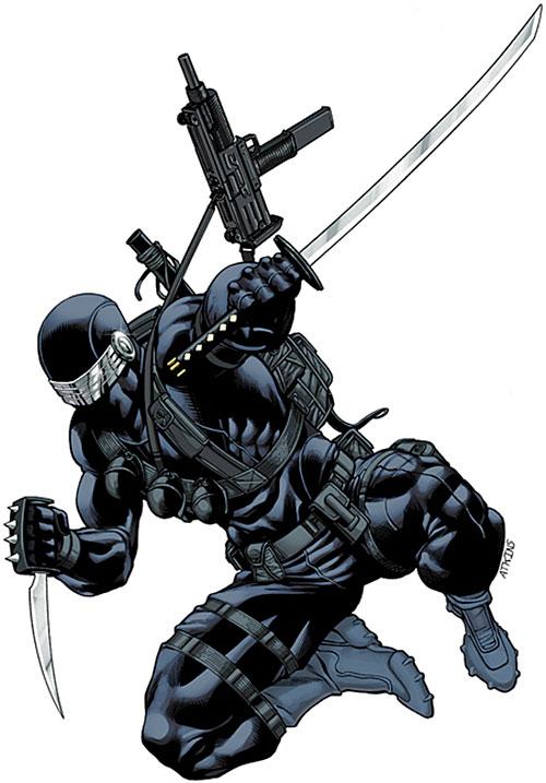 Snake Eyes (G.I. Joe comics) with paired katana and trench knife
