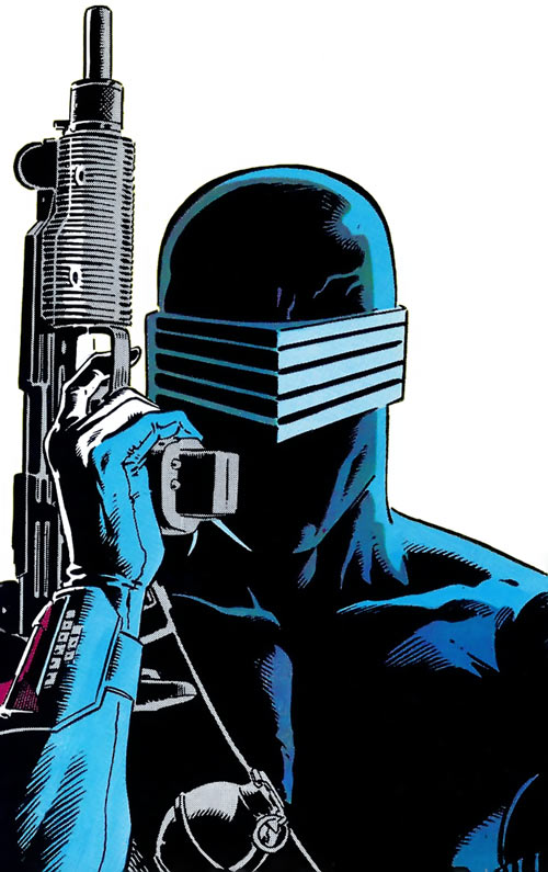 Snake Eyes (GI Joe Marvel Comics) mask and gun closeup