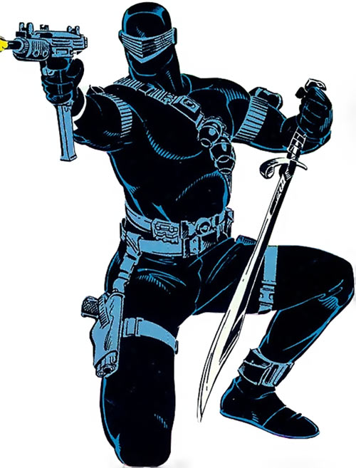Snake Eyes (GI Joe Marvel Comics) with sword and submachinegun