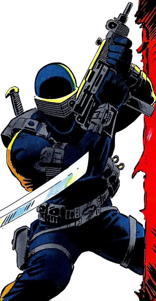 Snake Eyes (GI Joe Marvel Comics) with his mini-Uzi