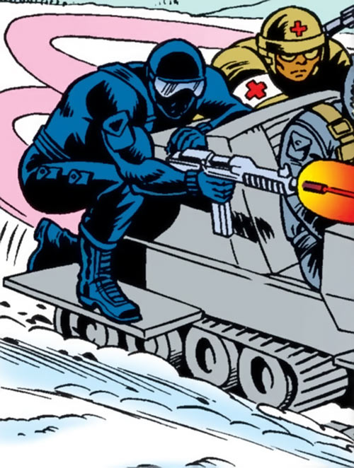 Snake Eyes (GI Joe Marvel Comics) shooting from a snowmobile