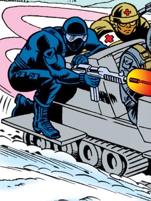 Snake Eyes (GI Joe Marvel Comics) shooting from a snowmobile