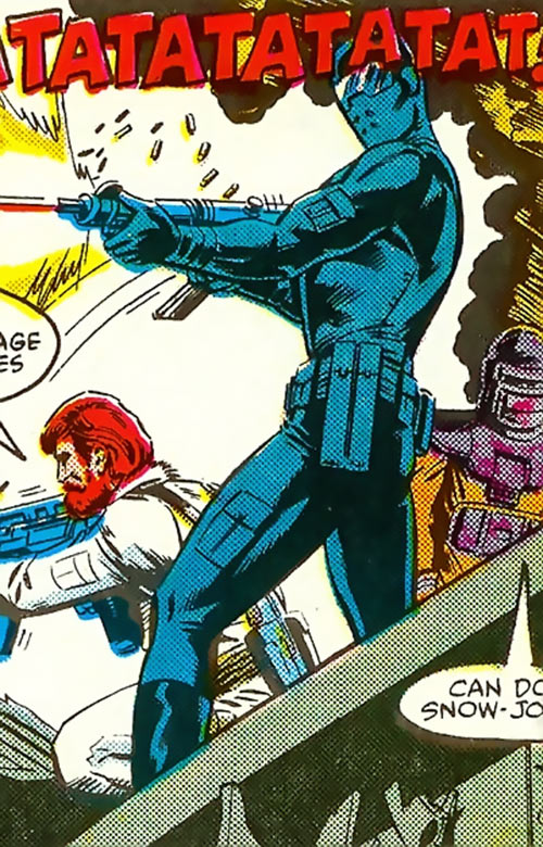 Snake Eyes (GI Joe Marvel Comics) machine gunning