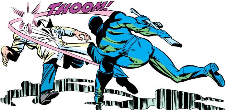 Snake Eyes (GI Joe Marvel Comics) biffing a guy using a rifle