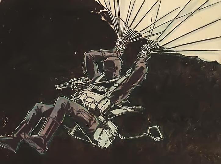 Snake Eyes (GI Joe Marvel Comics) parachuting at night