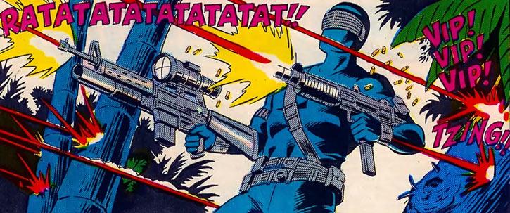 Snake Eyes (GI Joe Marvel Comics) shooting two guns while under fire