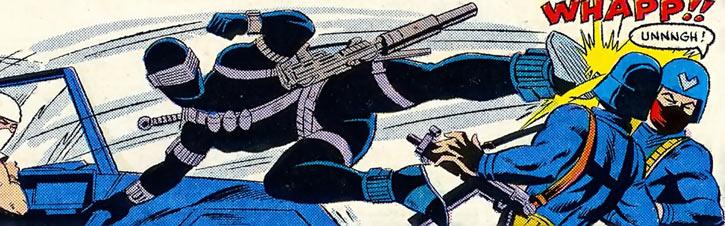 Snake Eyes (GI Joe Marvel Comics) jumping kick on Cobra guards