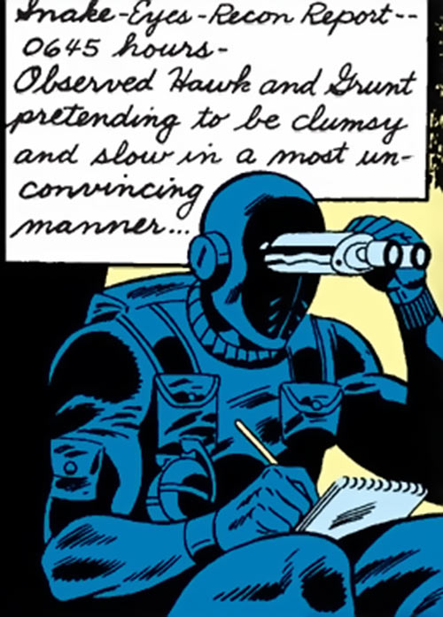 Snake Eyes (GI Joe Marvel Comics) observing with binoculars