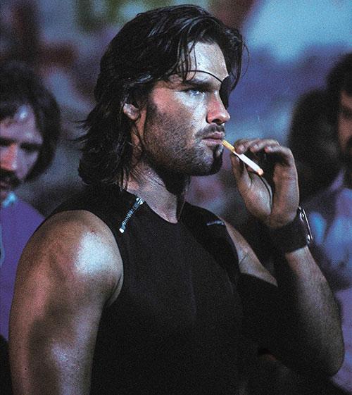 Snake Plissken (Kurt Russell in Escape from New York) smoking