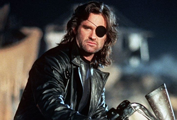 Snake Plissken (Kurt Russell) with the black leather outfit