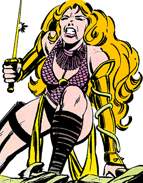Snapdragon (Marvel Comics) in her 1980s costume draws a blade