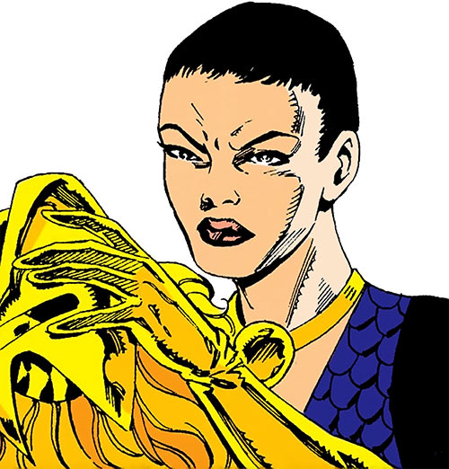 Snapdragon (Marvel Comics) removing her headgear