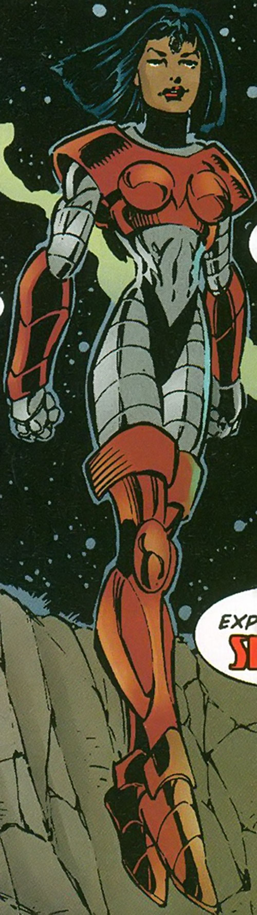 Snapshot (Sovereign 7 enemy) (DC Comics) hovering and smiling