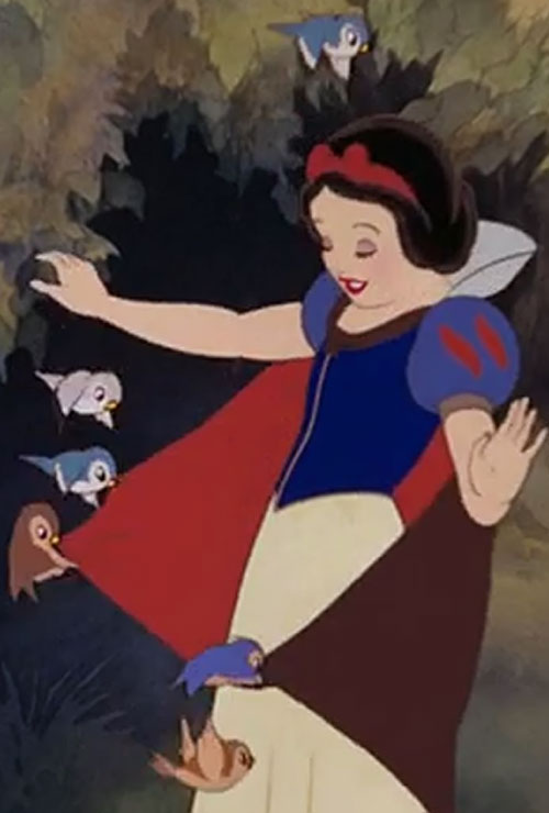 Snow White (Disney version) playing with birds