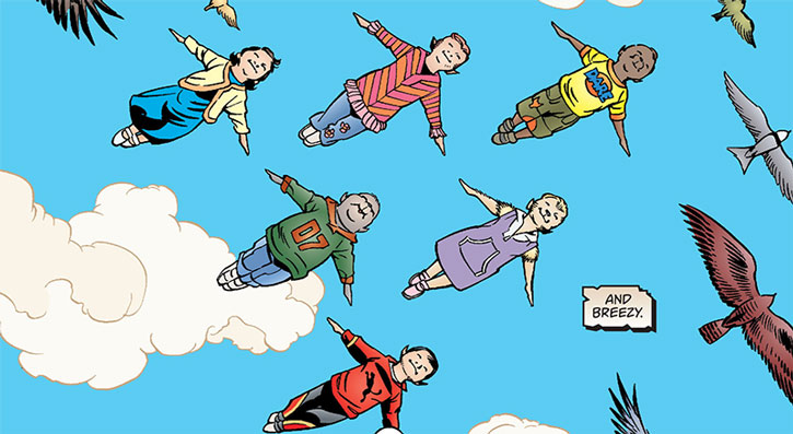 Snow White (Fables)'s children flying in formation