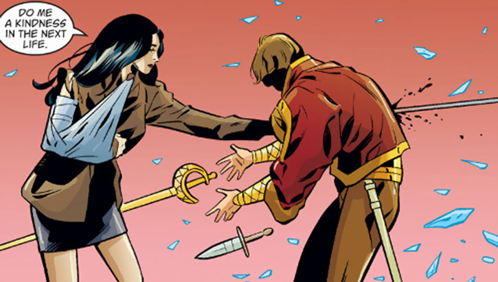 Snow White (Fables) wins a duel with an arm in a cast