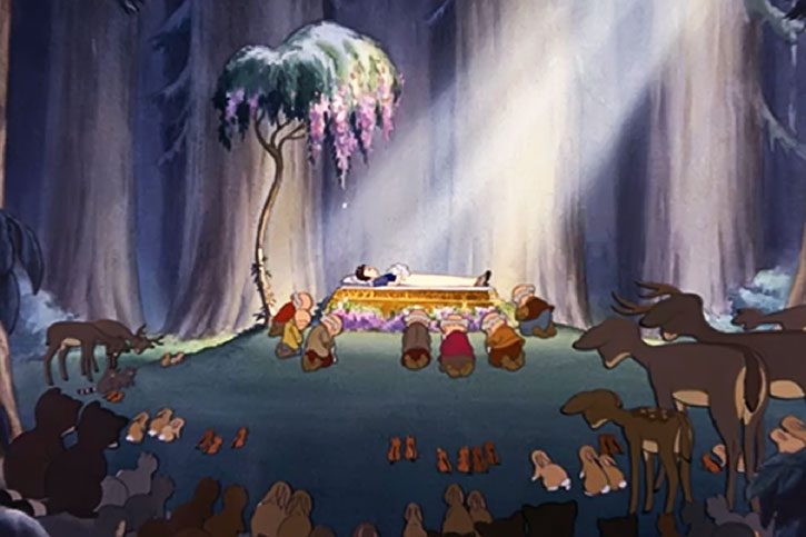 Snow White (Disney cartoon) asleep surrounded by her friends