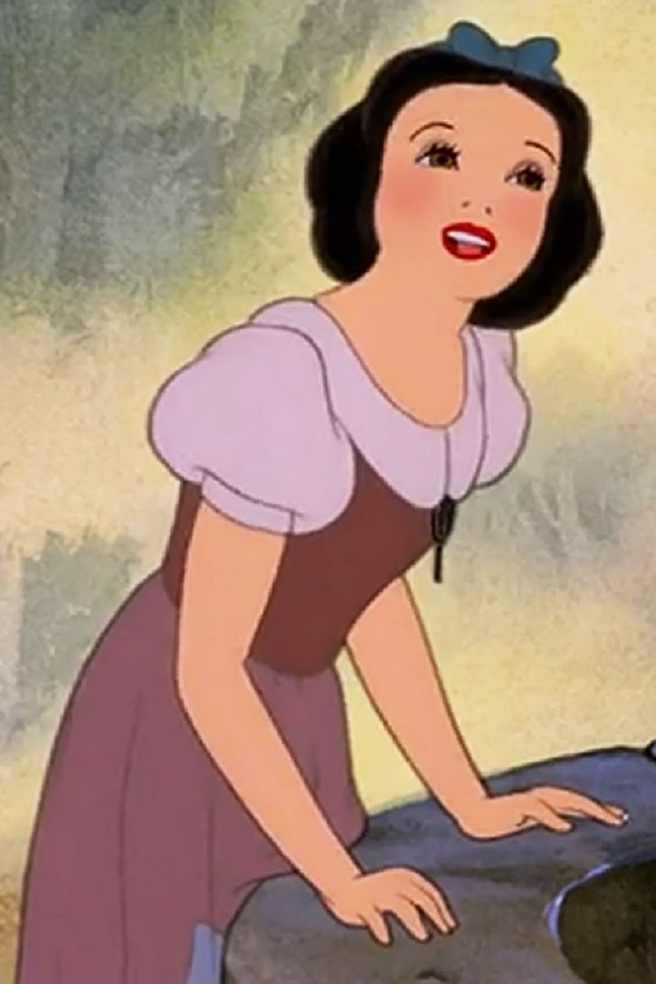 Snow White (Disney cartoon) singing and leaning on the wishing well