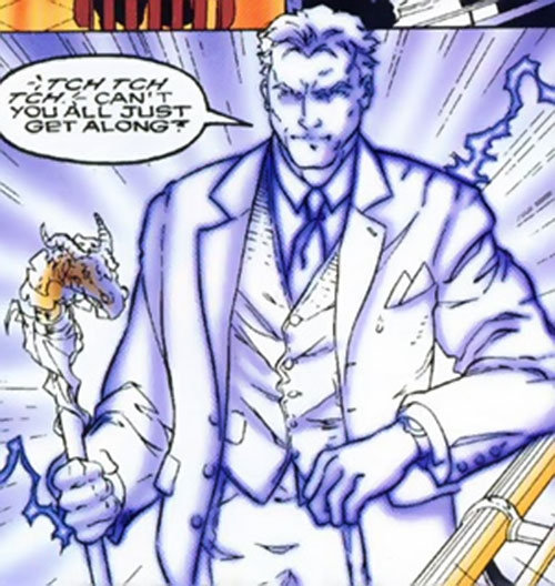 Snowblind (Ghost Rider enemy) (Marvel Comics) glowing in a suit