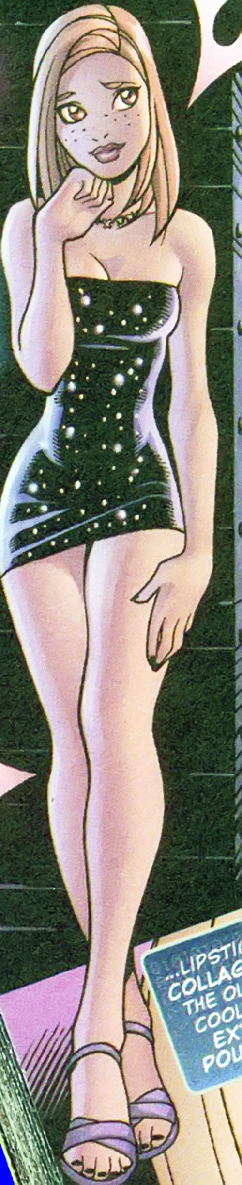 Social Butterfly of the Livewires (Marvel Comics) in a starfield black minidress