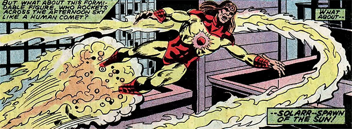 Solarr (Marvel Comics) flying on a fireball