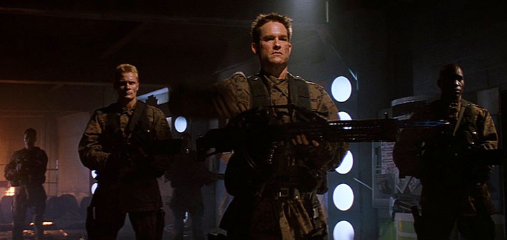 Sergeant Todd 3465 (Kurt Russell) and fellow troopers