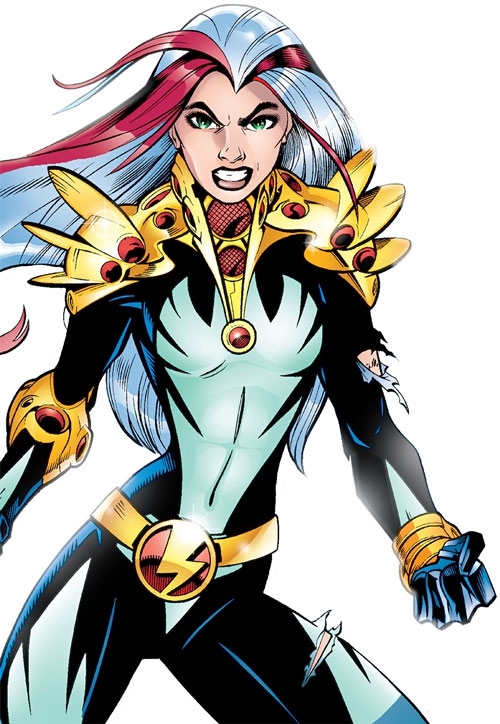Songbird of the Thunderbolts (Marvel Comics) grinning defiantly