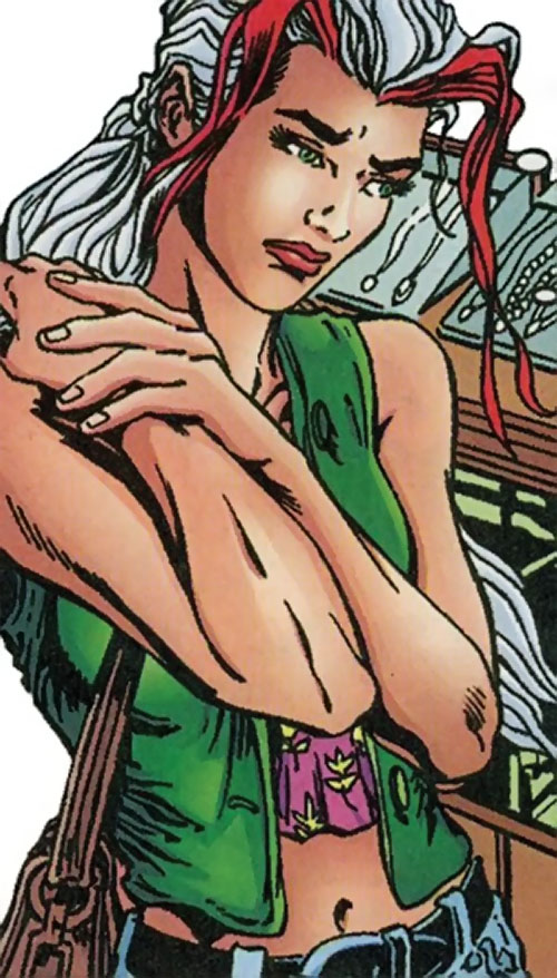 Songbird of the Thunderbolts (Marvel Comics) in a jewellery shop