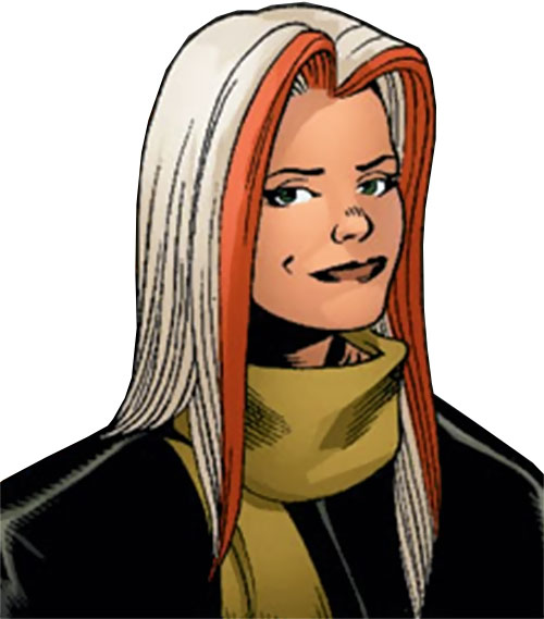 Songbird of the Thunderbolts (Marvel Comics) with a scarf, smiling